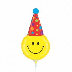 Balon mini figurina, Party Smiley, 36 cm, umflat + bat si rozeta, Radar 19256