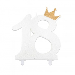 White glitter 18 candle with crown, 12 cm , Radar 51863