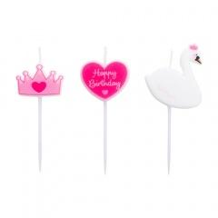 Princess candles on pick, 7 cm, Radar 51821, 3 pcs