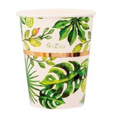 Pahare carton pentru petrecere Tropical - 250 ml, Radar 63920, set 8 bucati