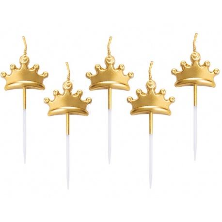 Lumanari aniversare pentru tort forma Coronita - aurii, 8 cm, Radar 51839