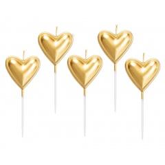 Heart molded candles, 8 cm, Radar 51840, pack of 5 pcs