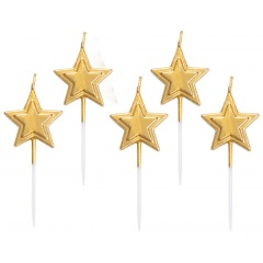 Star molded candles, 8 cm, Radar 51841, pack of 5 pcs