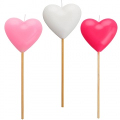 Heart molded candles on pick, 20 cm, Radar 51824, 1 pcs
