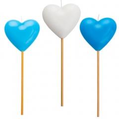 Heart molded candles on pick, 20 cm, Radar 51825, 1 pcs