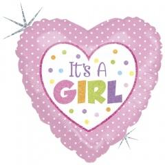 Balon Folie 45 cm inima It's A Girl, Holografic, Radar 86899H