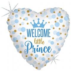 Balon Folie 45 cm inima Welcome Little Prince, Holografic, Radar 36712GH