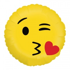 "Emoji Kiss Round Foil Balloon - 18""/45 cm, Radar 36505P"