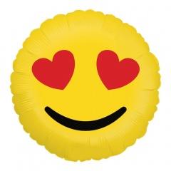 """Emoji Hearts Round Foil Balloon - 18""""/45 cm, Radar 36267P"""