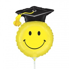 Balon mini figurina Grad Smiley - 36 cm, umflat + bat si rozeta, Radar 19145