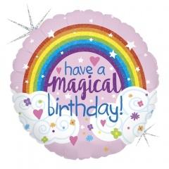 "18"" Have a Magical Birthday Round Holographic Foil Balloon, Radar 36698GH"