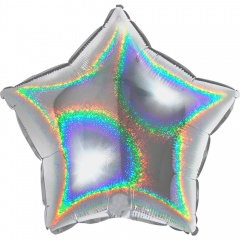 Glitter Silver Star Shaped Foil Balloon - 45 cm, Radar 19269GHS