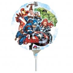 Balon Mini Folie Avengers, 23 cm, umflat + bat si rozeta, 34660