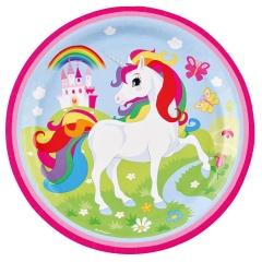 Farfurii carton Unicorn pentru petrecere copii - 23 cm, 9902101, Set 8 buc