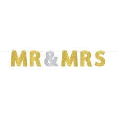 Banner litere cu sclipici pentru nunta - Mr. & Mrs., 18 cm x 3.65 m, 120240