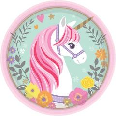 Farfurii carton pentru petrecere Magical Unicorn - 18 cm, Radar 541929, set 8 bucati
