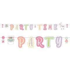 Banner decorativ pentru petrecere, Party Time - Lama, 2.4 m, Radar 9904591, 1 buc