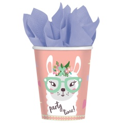 Llama - Party Time Paper Party Cups - 250 ml, 9904588, Pack of 8 Pieces