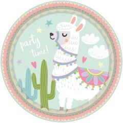Farfurii carton print Lama - Party Time pentru petrecere copii - 23 cm, 9904586, Set 8 buc