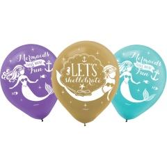 """11"""" Printed Latex Balloons Mermaid, Radar 9905202, pack of 6 pcs"""