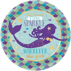 8 Plates Mermaid Wishes Paper Round - 18 cm, Radar 541975, pack of 8 pieces