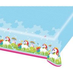 Fata de masa din plastic pentru petrecere copii - Unicorn, 120 x 180 cm, 9902104, 1 buc