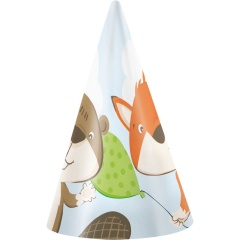 Fox and Beaver Party Hats - 9903074, Pack of 8 pieces