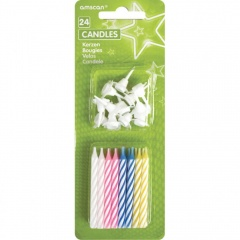24 Birthday Candles Stripes With Holders, 17102.99