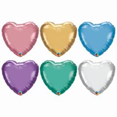 Balon Folie Chrome Inima - 45 cm, diverse culori, Qualatex