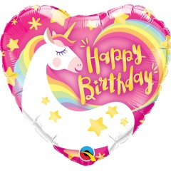 Balon Mini Folie Happy Birthday Unicorn, 23 cm, umflat + bat si rozeta, Qualatex 58395