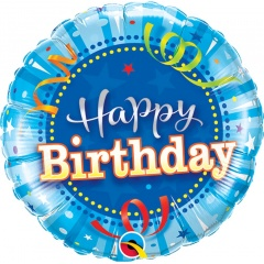 "9"" Happy Birthday Bright Blue Air Fill Microfoil Balloon, Qualatex 32955"