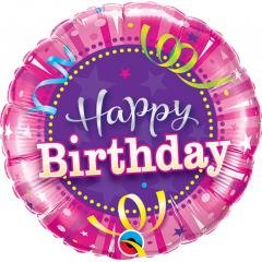 "9"" Happy Birthday Hot Pink Air Fill Microfoil Balloon, Qualatex 32953"