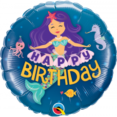 Balon Mini Folie Happy Birthday Mermaid, 23 cm, umflat + bat si rozeta, Qualatex 58437