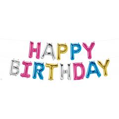 Pachet baloane folie Happy Birthday multicolor - 41 cm, 58871