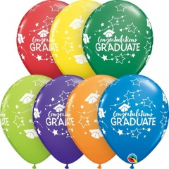 "11"" Round Assorted Congratulations Graduate, Qualatex 99654, Pack of 5 pieces"
