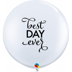 3' Best Day Ever - White Round Latex Balloons, Qualatex 88201, 1 pcs