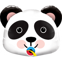 Balon Folie Mini Figurina Cap de Panda - 36 cm, umflat + bat si rozeta, Qualatex 89454