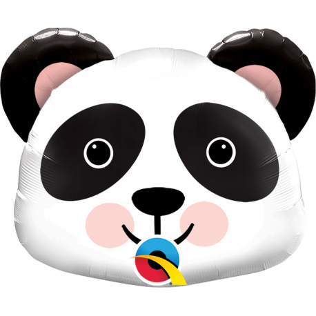 Balon Folie Mini Figurina Cap de Panda - 36 cm, umflat + bat si rozeta, Qualatex 89454