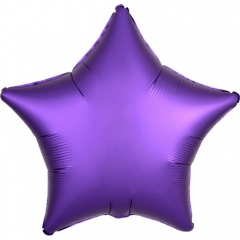 "18"" Satin Luxe Purple Royale Star Shaped Foil Balloon, Amscan 36820"