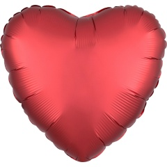 "18"" Satin Luxe Sangria Heart Shaped Foil Balloon, 38584"