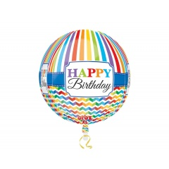 Orbz Foil Ballon Happy Birthday  3D, 38 x 40 cm, 30677, 1 piece