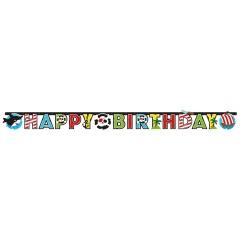 Banner decorativ pentru petrecere - 180 x 15 cm, Happy Birthday cu Pirat, 9902126, 1 buc