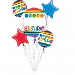 "Bouquet ""Rainbow Birthday Personalize It!"" Foil Balloons, 34428, set of 5 pieces"