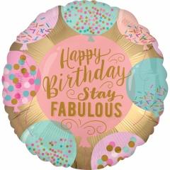 Balon Folie 45 cm Happy Birthday - Stay Fabulous, 38074