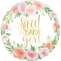 "18"" Sweet Baby Girl Round Foil Balloon, 38515"
