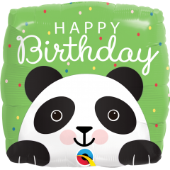 Balon Folie 45 cm Happy Birthday - Panda, Qualatex 87995