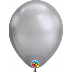 "Baloane latex 7""/18 cm Silver - Chrome, Qualatex 85109"