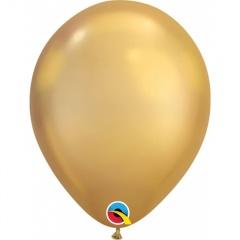 "Baloane latex 7""/18 cm Gold - Chrome, Qualatex 85111"