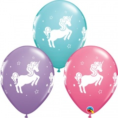 "Baloane latex 11""/28 cm - Unicorn, Qualatex 98220"