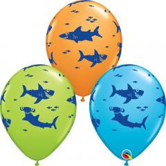 "11""/28 cm Shark Print Latex Balloons, Qualatex 98221"
